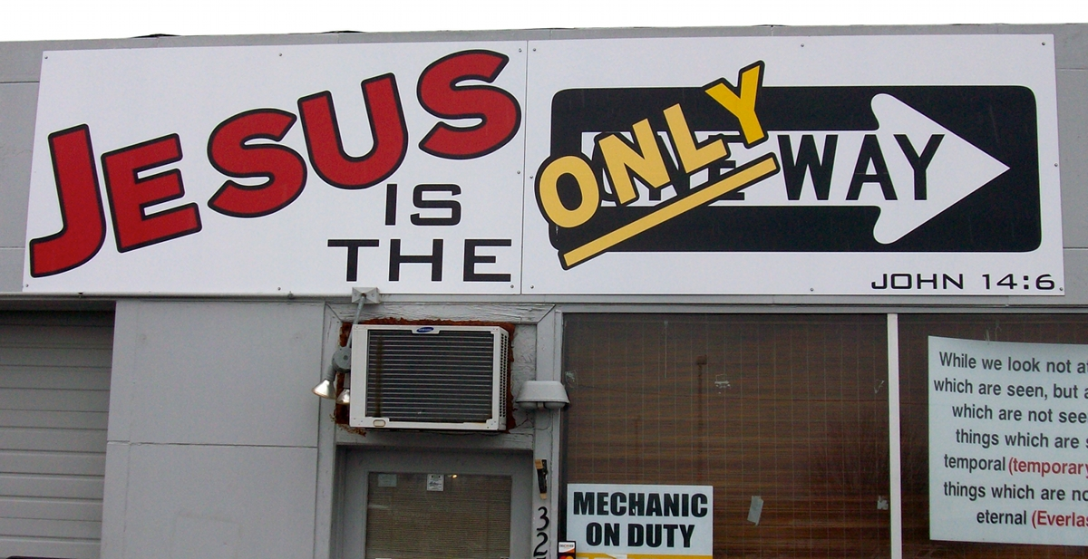 Jesus-Only-Way sign