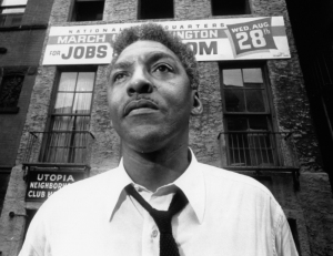 Bayard Rustin and Jobs sign
