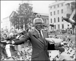 Bayard Rustin at a big rally