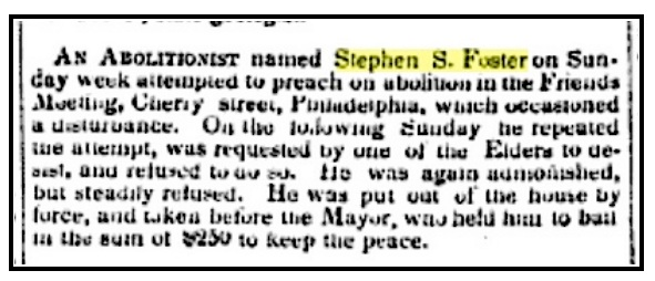 Stephen S. Foster Arrest - Reported in Niles National Register 1843