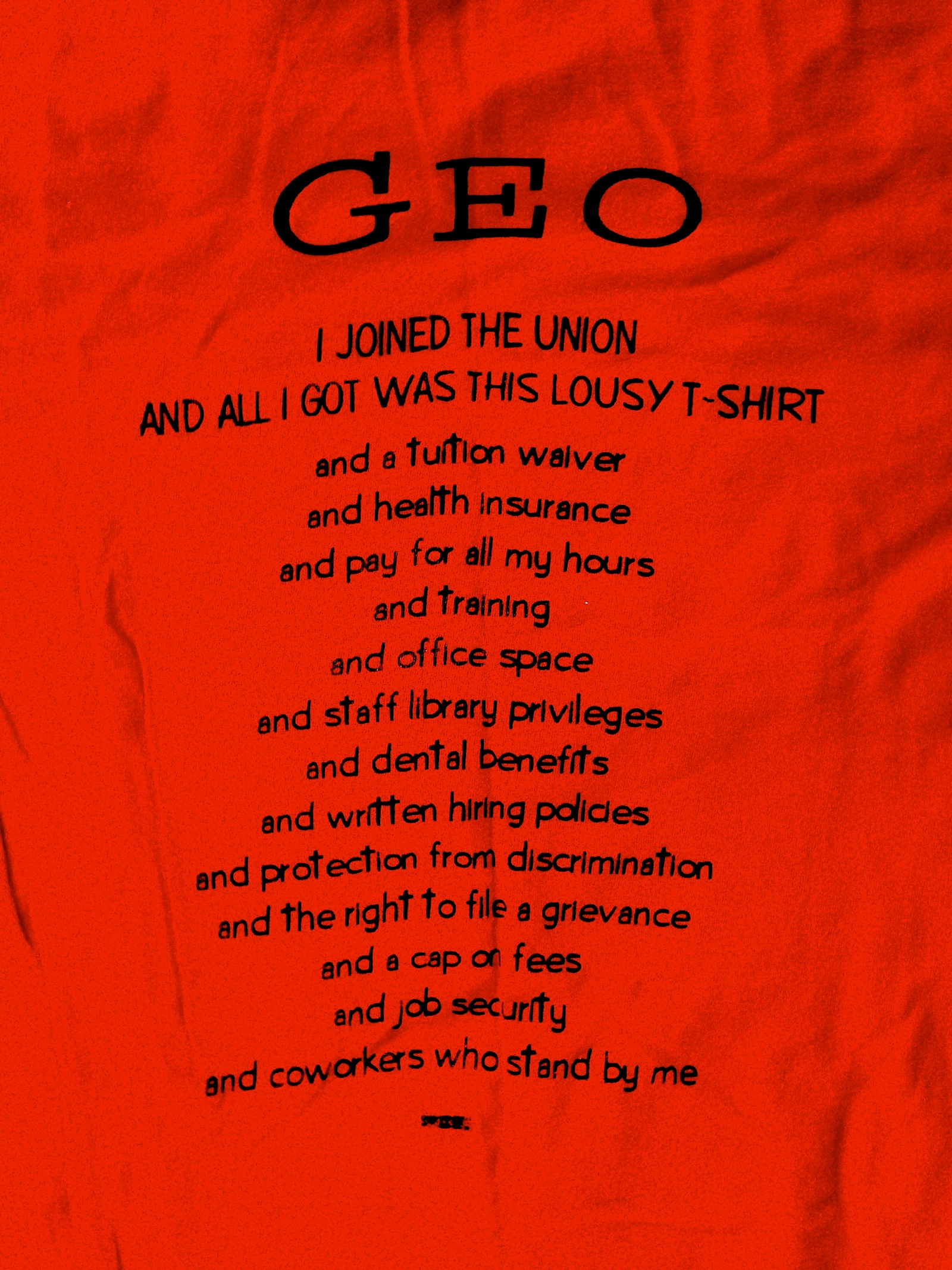 My GEO Union Tee Shirt - A classic of the Good Old Days