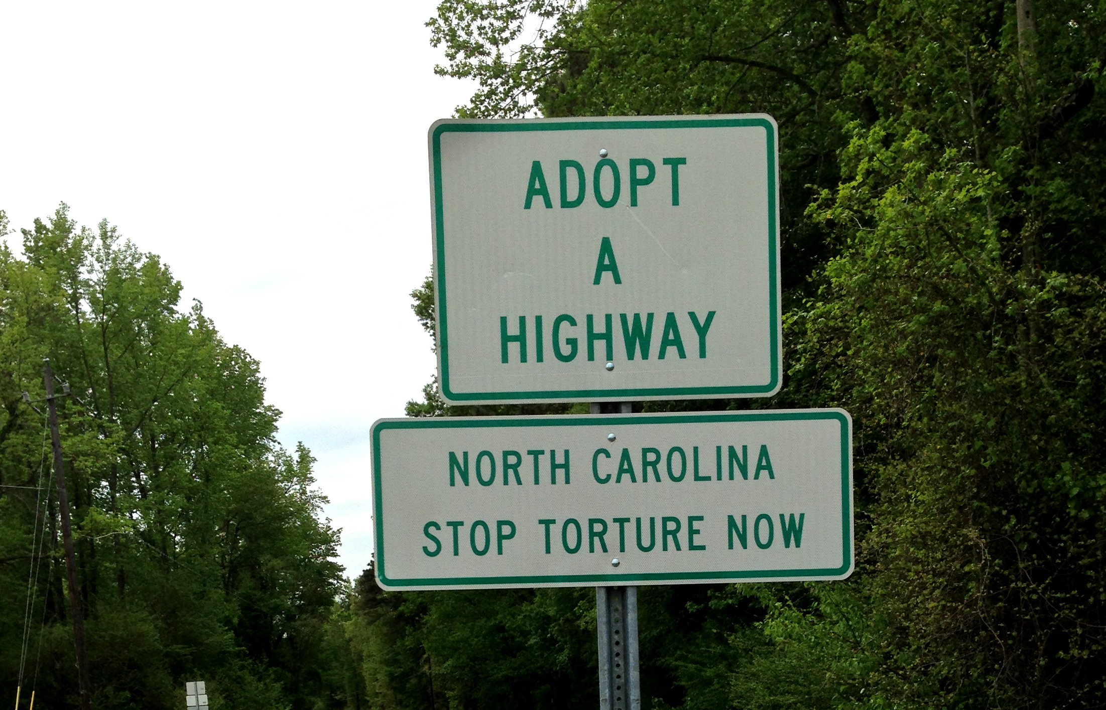 NC Stop Torture Now Sign - Smithfield NC